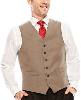 STAFFORD Stafford Wool Blend Brown Sharkskin Vest-Classic
