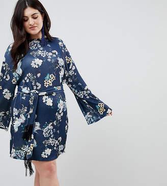 Asos Kimono Sleeve Bird Print Mini Dress with Self Fringe Belt