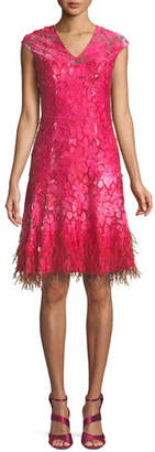 Elie Tahari Moriah Mesh Overlay Dress w/ Feather Hem