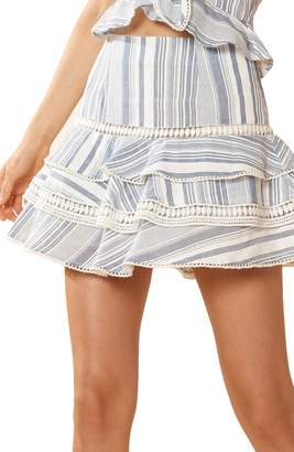 Red Carter Ruffle Cover-Up Miniskirt
