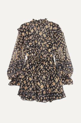Ulla Johnson Vienne Printed Metallic Fil Coupé Silk-blend Chiffon Mini Dress - Midnight blue