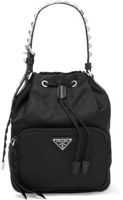 Prada Vela Stud-embellished Leather-trimmed Shell Tote - Black