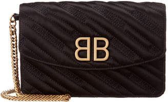 Balenciaga Bb Quilted Satin Wallet On Chain