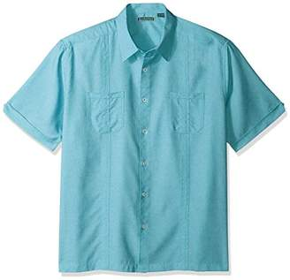 Cubavera Men's Short Sleeve Shirt with Contrast Front Yoke and Piping Detail