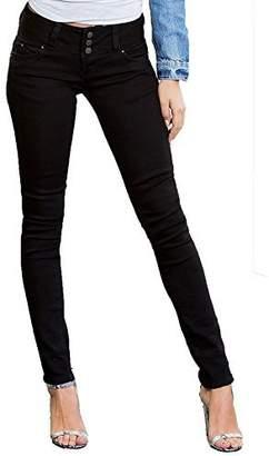 YMI Jeanswear Junior's Wannabettabutt Triple Button Skinny Jean