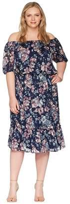 Adrianna Papell Plus Size Off Shoulder Blouson Burnout Women's Dress