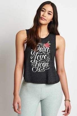 Spiritual Gangster Peace Love Yoga Embroidered Crop Tank - S