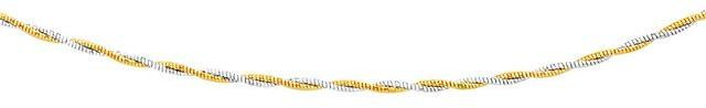 Ice 14K Two-Tone Gold Braided Design Double Strand Mirror Spring Necklace
