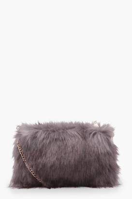 boohoo Talia Faux Fur Cross Body With Chain Strap