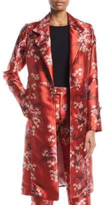 Johanna Ortiz As If Notched-Collar Renaissance Victorian Floral-Print Mid-Length Coat