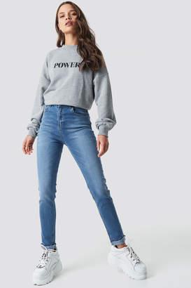 NA-KD Na Kd Skinny Raw Hem Jeans Mid Blue