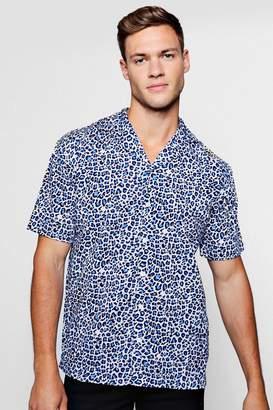 boohoo Blue Leopard Print Short Sleeve Revere Shirt