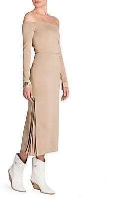 Fendi Women's Jersey Off-the-Shoulder Midi Dress