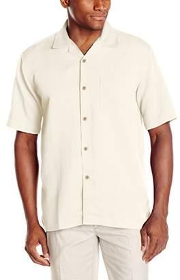Cubavera Men's Short Sleeve Rayon-Blend Solid Button-Down Cuban Camp Shirt