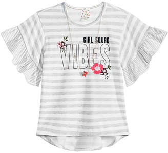 Belle Du Jour Big Girls 2-Pc. Striped Bell-Sleeve Top & Necklace Set