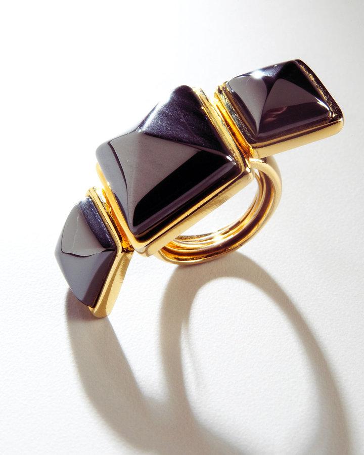 KARA by Kara Ross Triple-Stone Hematite Ring