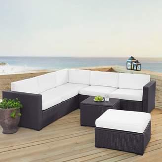 Crosley Furniture Biscayne Patio Wicker Loveseat, Chair, Coffee Table & Ottoman 5-piece Set