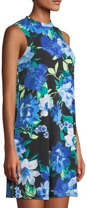 Neiman Marcus Mock-Neck Sleeveless Floral-Print Dress