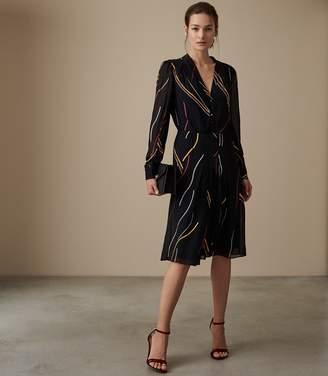 Reiss Caralisa Printed Button Detail Midi Dress