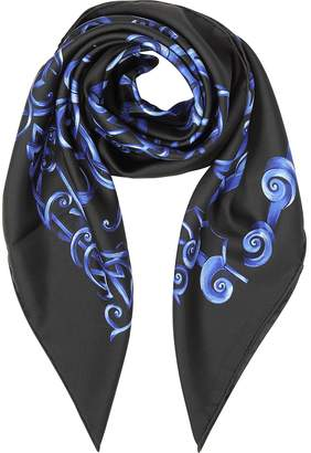 Versace Black and Bluette Heritage Barocco Print Silk Square Scarf