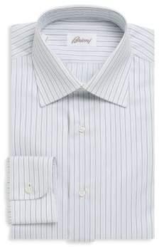Brioni Striped Cotton Button-Down Dress Shirt