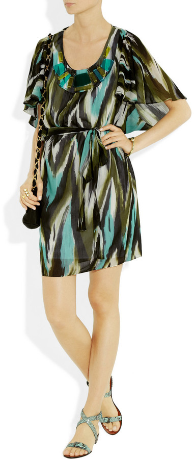 Milly Embellished ikat-print silk and cotton-blend dress