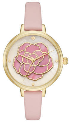 Kate Spade Analog Stop and Smell the Roses Floral Leather Strap Watch