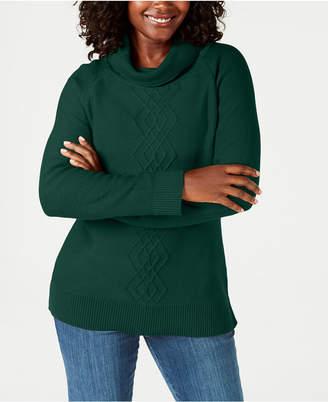 Karen Scott Cotton Funnel-Neck Sweater