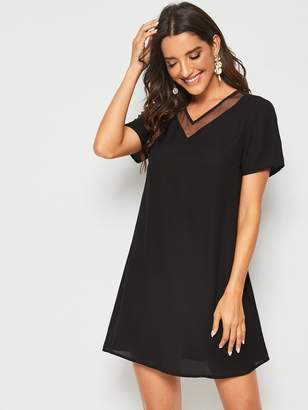 Shein Mesh Insert Solid Tunic Dress