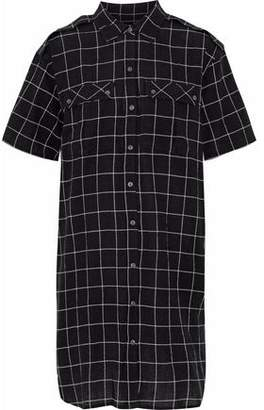 Current/Elliott The Workwear Plaid Cotton-Blend Mini Dress