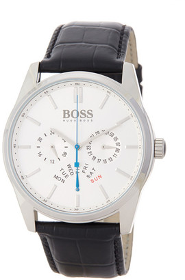 HUGO BOSS Men's Heritage Croc Embossed Leather Strap Watch $245 thestylecure.com