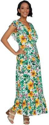 C. Wonder Petite Tropical Floral Print Knit Maxi Dress