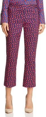 Alice + Olivia Michiko Floral Print Cropped Flared Pants