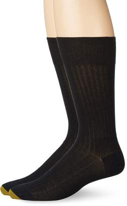Gold Toe Men's Comfort Top Non-Elastic English Rib Crew 2 Pack S5