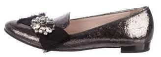 Miu Miu Leather Semi Pointed-Toe Loafers