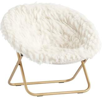 Pottery Barn Teen Hang-A-Round Chair, Winter Fox Faux-Fur w/ Gold Base