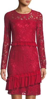 Neiman Marcus Chiffon Ruffle Lace Sheath Dress