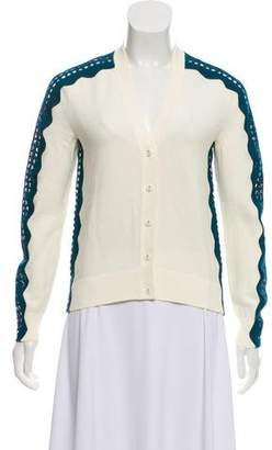 Tory Burch Long Sleeve Lace Trim Cardigan