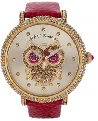 Betsey Johnson Womens Owl Motif Dial and Fuchsia Strap Watch Standard BJ0039606