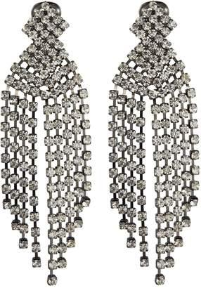 Kenneth Jay Lane Glass crystal waterfall fringe drop clip earrings