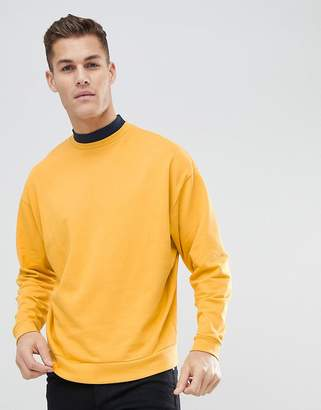 Asos DESIGN Oversized Sweatshirt With Double Layer Neck