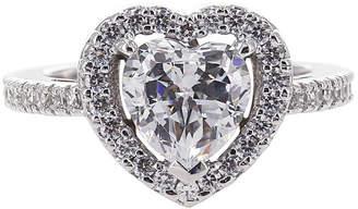 JCPenney FINE JEWELRY DiamonArt Cubic Zirconia Sterling Silver Heart Halo Ring