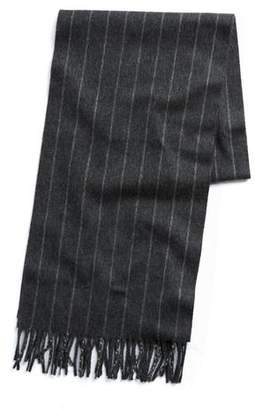 Joshua Ellis Charcoal Chalkstripe Cashmere Scarf