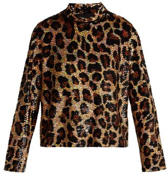 Ashish Leopard Print Sequined Top - Womens - Brown