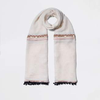 Womens Cream and grey blocked blanket scarf River Island Discount Outlet Professional Websites For Sale Classic For Sale VhFdeFi