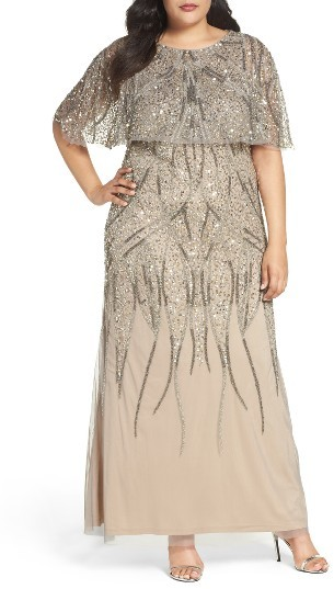 Adrianna PapellPlus Size Women's Adrianna Papell Beaded Mesh Gown