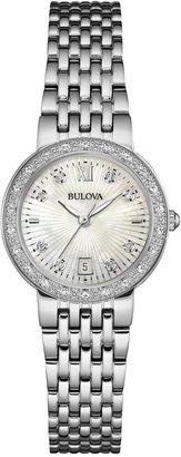 Bulova Women's Maiden Lane Diamond Accent Stainless Steel Bracelet Watch 26mm 96R203 $399 thestylecure.com