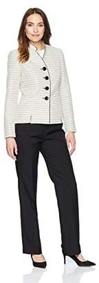 Le Suit Women's Tweed 4 Bttn Inverted Collar Pant