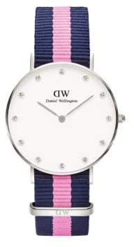 Daniel Wellington Classy Winchester Stainless Steel Pink Nylon Strap Watch, 36mm $175 thestylecure.com