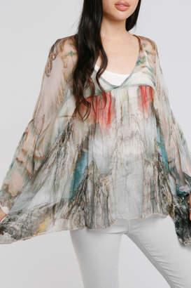 Baci Watercolor Crinkle Silk Blouse